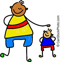 big kid little kid - diverse friends one very tall one very...