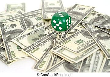 Big kip dollars and dice - Kip dollars and dice on a white...