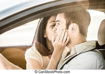 Big kiss in car