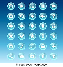 Big kit of buttons with different images for the user interface