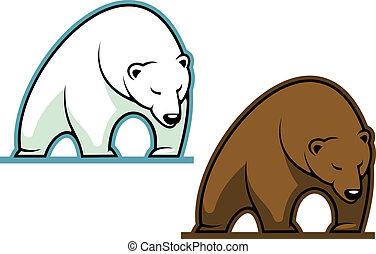 Big kodiak bear in cartoon style for sports mascot