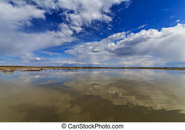 Big lake and a reflection of the sky.
