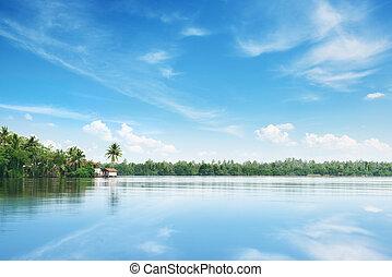 Big lake and beautiful sky
