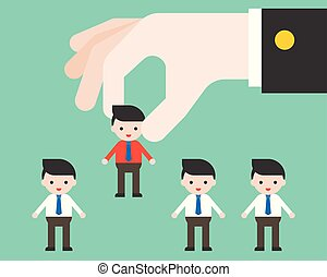 Big leader hand picks worker, flat design choosing people and apply job concept