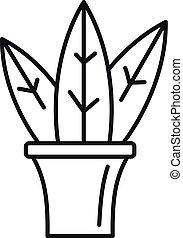Big leaf houseplant icon, outline style
