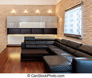 Big leather couch in living room