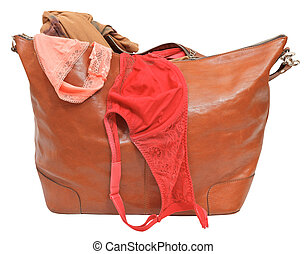 big leather handbag with bra and pink lace panties
