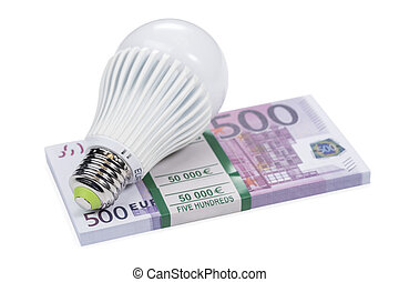 led lamp on a bundle of money
