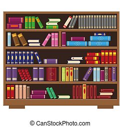 Big library bookcase with colorful books.