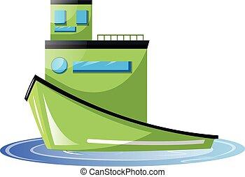Big light green transport ship vector illustration on white background.