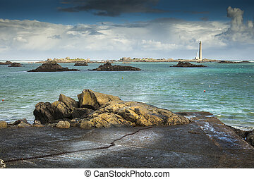 Big lighthouse in France on a stormy day, Brittany, Lilia