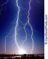 Big lightnings over small town - Huge bolt of lightnings ...