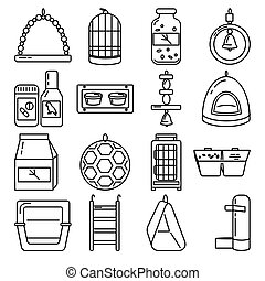 Big line icon set of accessories for bird in cage