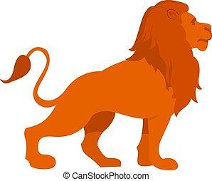 Big lion, illustration, vector on white background.