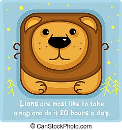 Big lion square icon
