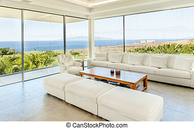 big living room with sea view