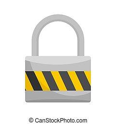 Big lock icon, flat style