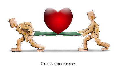 Big love heart on stretcher carried by box character