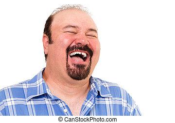 Big man having a hearty laugh of enjoyment and merriment...