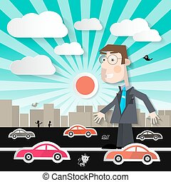 Big Man in the City - Businessman Walking on Street with Cars in Town Vector Illustration