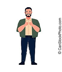 big man perfectly imperfect character icon vector illustration design