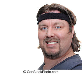 Big Man wearing a black Sweatband isolated on white