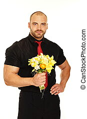 Big man with flowers