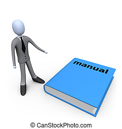 3d person standing next to a big manual.