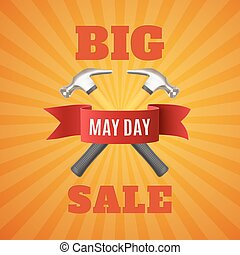 Big May Day sale background.