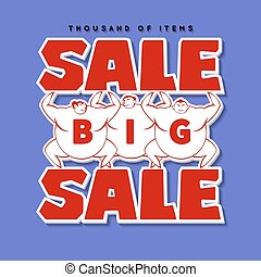 Big Men and Big Sale. Vector
