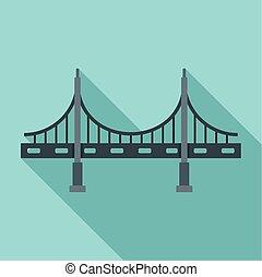 Big metal bridge icon, flat style