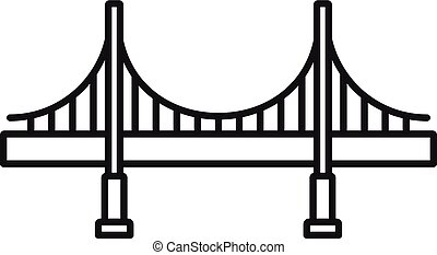 Big metal bridge icon, outline style