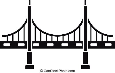 Big metal bridge icon, simple style