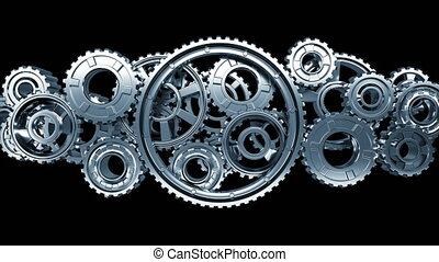 Big Metal Gears Turning Forward and Reverse in Abstract Working Mechanism. Beautiful Looped 3d Animation with Alpha Matte. Teamwork Business and Technology Concept. 4k Ultra HD 3840x2160.