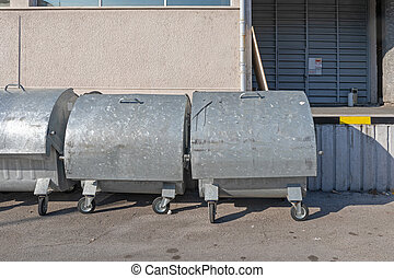 Big Metal Industrial Waste Containers With Wheels