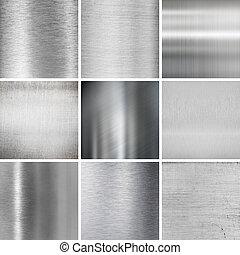 metal plates textured backgrounds set