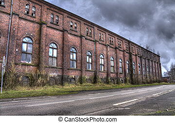 big mine pit red bricks building