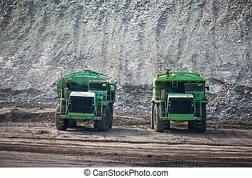 Big  mining truck at work site coal transportation