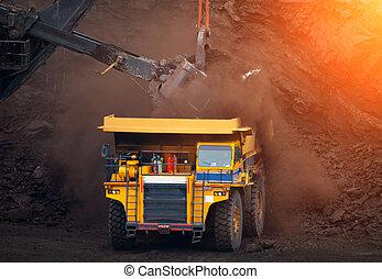 big mining truck unload coal in coal mine