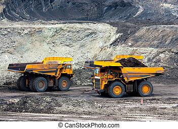 big mining truck unload coal