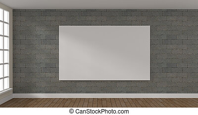 Big Mock up poster in a bright room