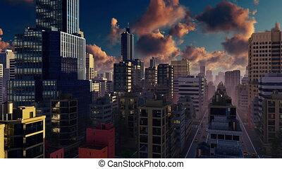Big modern city at sunrise Time lapse 4K