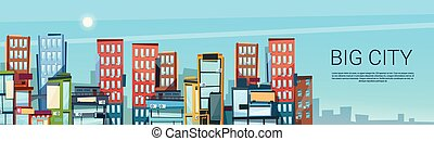 Big Modern City View Cityscape Skyline Banner With Copy Space
