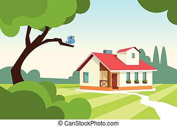 Big Modern House Residence Estate With Garden Flat Vector...