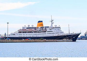Big modern passenger cruise ship sails
