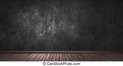 Big modern room with black plaster wall, wooden floor and plinth.