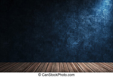 Big modern room with blue plaster wall, wooden floor and plinth