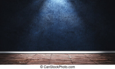 Big modern room with blue plaster wall, wooden floor and white plinth