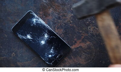 Big modern smartphone with broken screen debris - Modern...