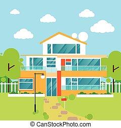 big modern villa house flat design vector